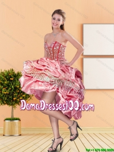 2015 New Style Sweetheart Group Buying Dama Dresses with Beading and Pick Ups