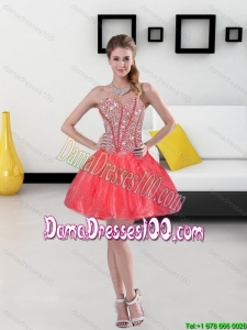 2015 Remarkable Beading Mini Length Cute Dama Dresses in Coral Red