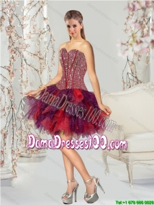 2015 Summer Beautiful Beading and Ruching Multi-color Dama Dresses