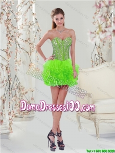 2015 Summer Beautiful Beading and Ruffles Dama Dresses in Spring Green