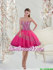 2015 Sweetheart Hot Pink Sequins and AppliquesGroup Buying Dama Dresses