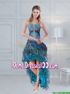 2015 Winter Beautiful Straps Multi Color Dama Dresses with Embroidery and Hand Made Flower