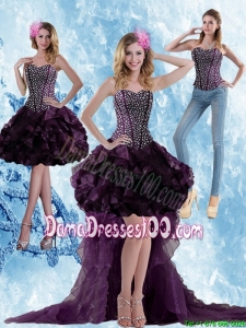 2015 Winter High Low Dark Purple Beautiful Dama Dresses with Ruffled Layers and Beading