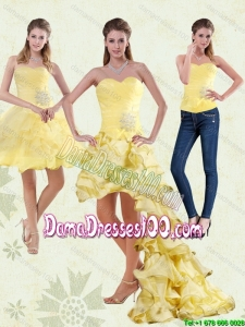 2015 Yellow Sweetheart High Low Group Buying Dama Dresses with Beading and Ruffled Layers