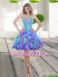 Beautiful 2015 Fall Beading and Ruffles A Line Dama Dresses in Multi Color