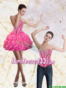 Beautiful 2015 Fall Sweetheart Mini Length Dama Dresses with Beading and Ruffles
