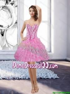 Beautiful 2015 Summer Rose Pink Sweetheart 2015 Dama Dresses with Beading and Ruffles