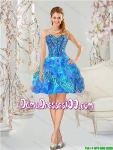 Beautiful Multi Color Dama Dresses with Beading and Ruffles for 2015