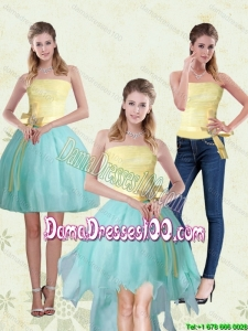 Exclusive Strapless High Low 2015 Summer Dama Dress with Bowknot For Quinceanera