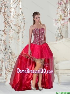 Fashionable High Low Beading Red Group Buying Dama Dresses