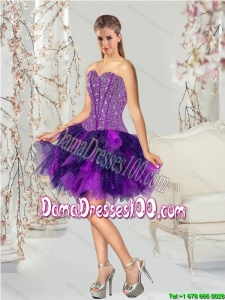 High Fashion Multi-color Cute Dama Dresses with Beading and Ruching