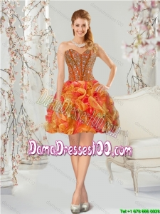 Luxurious Beading and Ruffles Multi-color Group Buying Dama Dresses for 2015