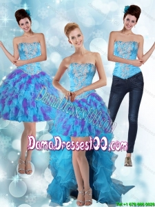 Modest Strapless High Low Ruffles 2015 Summer Dama Dresses For Quinceanera in Multi Color