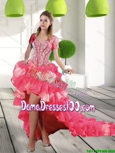 Most Popular Coral Red High-low Group Buying Dama Dresses with Beading and Ruffled Layers