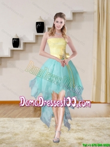 Multi Color Strapless High Low 2015 Elegant Cute Dama Dresses with Bowknot