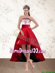 Pretty White And Wine Red High Low Strapless Group Buying Dama Dresses with Embroidery