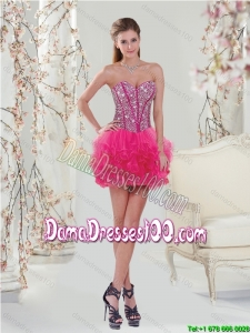 Trendy Beading and Ruffles Hot Pink Group Buying Dama Dresses for 2015