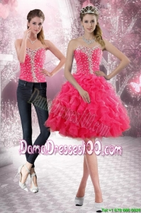 2015 Beautiful Sweetheart Dama Dresses with Beading and Ruffles