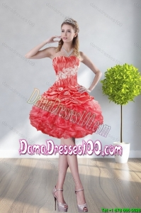 2015 Fall Beautiful Strapless Watermelon Red Dama Dresses With Appliques and Ruffles