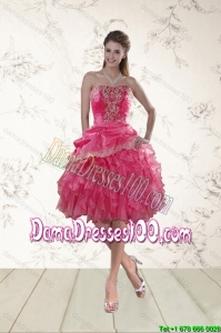 2015 Fall Coral Red Strapless Dama Dresses For Quinceanera with Beading and Ruffles