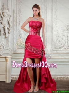 2015 Fall High Low Strapless Ruffled Coral Red Dama Dresses For Quinceanera with Hand Made Flower