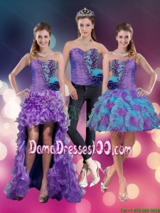 2015 Junior Spring Sweetheart Beading Multi Color Dama Dresses with Hand Made Flower