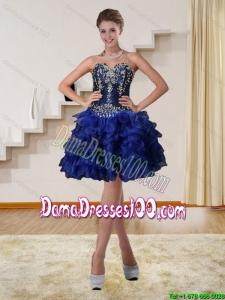 2015 Navy Blue Sweetheart Short Group Buying Dama Dresses with Beading and Embroidery