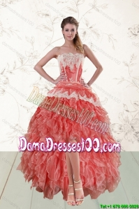 2015 Perfect High Low Ruffled Strapless Group Buying Dama Dresses in Watermelon