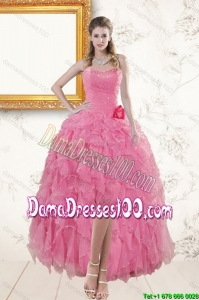 2015 Rose Pink Sweetheart Group Buying Dama Dresses with Beading and Ruffles