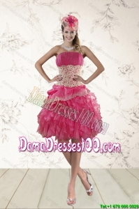 2015 Strapless Group Buying Dama Dresses with Appliques and Ruffles