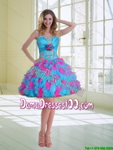 2015 Summer Ball Gown Strapless Ruffled Dama Dresses For Quinceanera with Hand Made Flower
