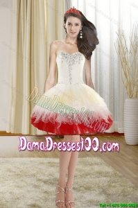 2015 Summer Beautiful Beading Short Dama Dresses with Sweetheart