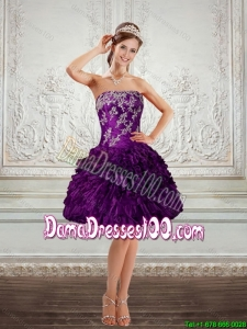 2015 Summer Beautiful Purple Strapless Dama Dresses For Quinceanera with Embroidery and Ruffles