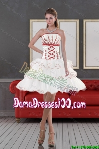 2015 Summer Beautiful Strapless Dama Dresses with Embroidery and Ruffle layers