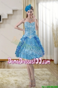 2015 Summer Beautiful Sweetheart Blue Dama Dresses with Embroidery