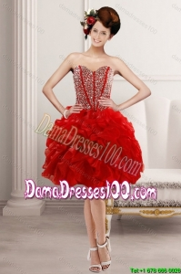 2015 Summer Beautiful Sweetheart Dama Dresses with Beading and Ruffles