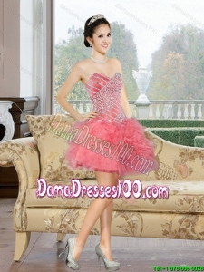 2015 Summer Comfortable Mini Length Dama Dresses For Quinceanera with Appliques and Ruffles