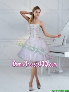 2015 Summer Elegant Strapless White Dama Dresses For Quinceanera with Ruffles and Beading
