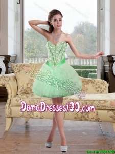 2015 Summer Inexpensive Beading and Ruffles Dama Dresses For Quinceanera in Apple Green