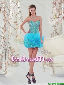 2015 Summer Popular Beading and Ruffles Mini-length Dama Dresses For Quinceanera in Turquoise