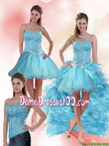 2015 Summer Unique Aqua Blue Sweetheart High Low Dama Dresses For Quinceanera with Ruffles and Beading