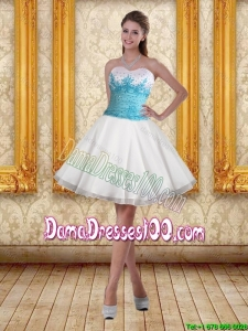 2015 Summer White Sweetheart Dama Dresses For Quinceanera with Blue Embroidery