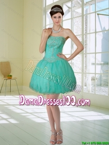 Apple Green Strapless 2015 Summer Dama Dresses For Quinceanera with Embroidery and Beading