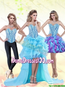 Aqua Blue High Low 2015 Summer Dama Dresses For Quinceanera with Beading and Ruffles