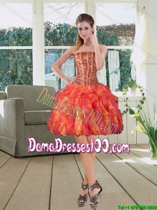 Ball Gown Strapless Multi Color 2015Group Buying Dama Dresses with Beading and Ruffles