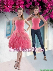 Beautiful 2015 Summer Strapless Watermelon Dama Dresses with Beading and Ruffles