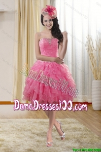 Beautiful Sweetheart 2015 Summer Dama Dresses with Ruffles and Beading