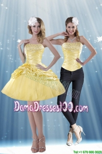 Delicate 2015 Summer Strapless Beading and Pick Ups Dama Dresses For Quinceanera in Yellow