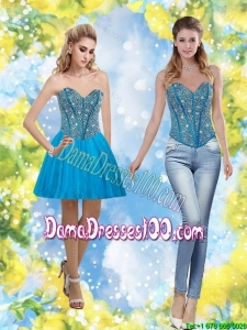 Exclusive 2015 Sweetheart Short Group Buying Dama Dresseswith Beading