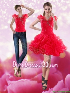 Gorgeous 2015 Knee Length Red Group Buying Dama Dresses with Beading and Ruffles